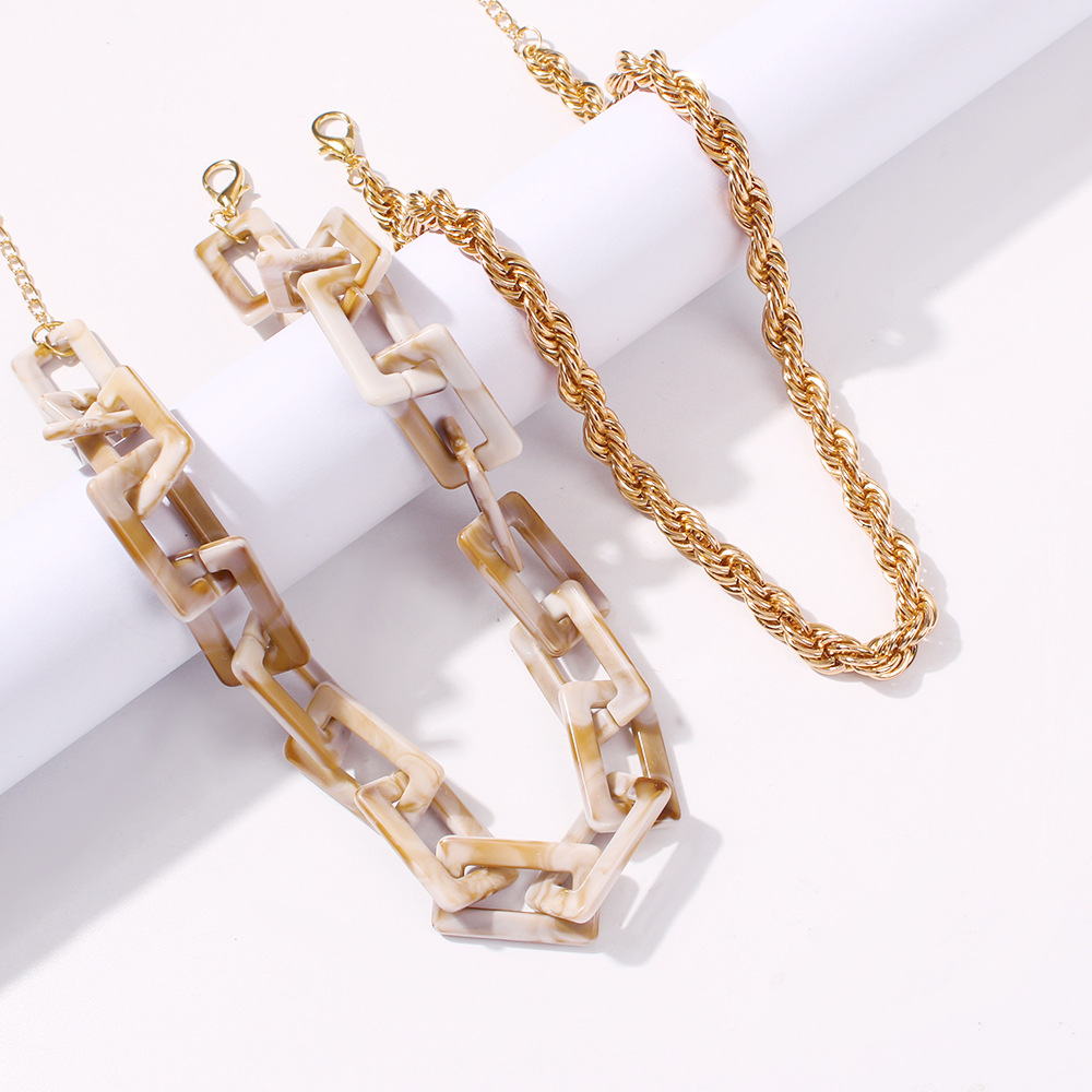 New accessories creative fashion hip-hop resin suit necklace jewelry wholesale NHMD205827