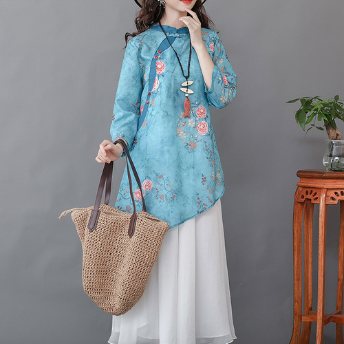 Printed retro qipao tops chinese style blouses tang suit for women Republican style stand-up collar mid-length cotton and linen shirt