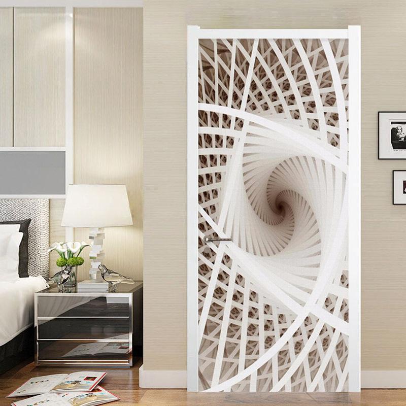 巨创跨境货源PVC贴纸3D自粘门贴现代装饰 三维门立体抽象画