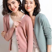 创意款2021春秋季外贸货源开衫常规V字领修身毛衣女式针织衫