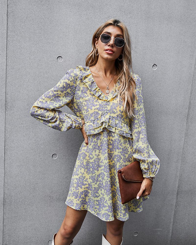 V-neck waist pullover printed floral skirt NSKA2861
