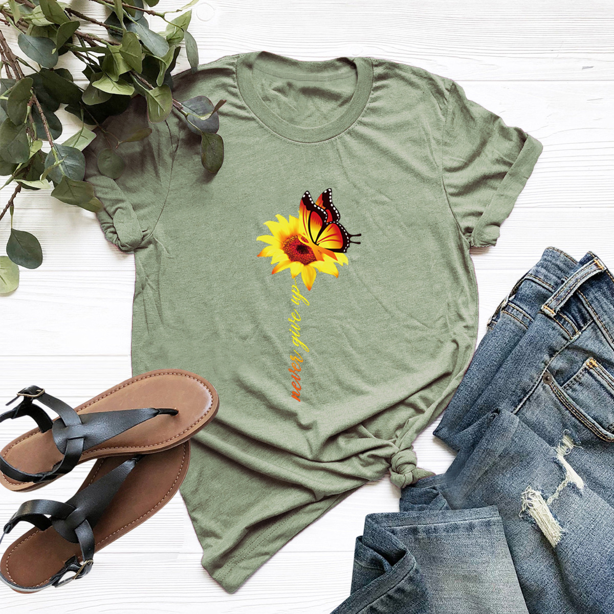 casual sunflower butterfly short-sleeved T-shirt NSSN1767