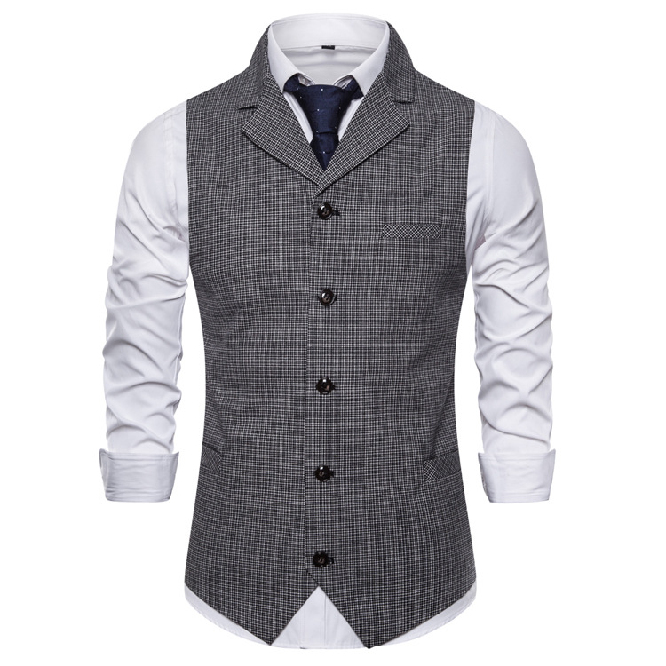 Cross border autumn and winter 2020 new suit collar Korean casual single breasted Plaid vest men's wholesale
