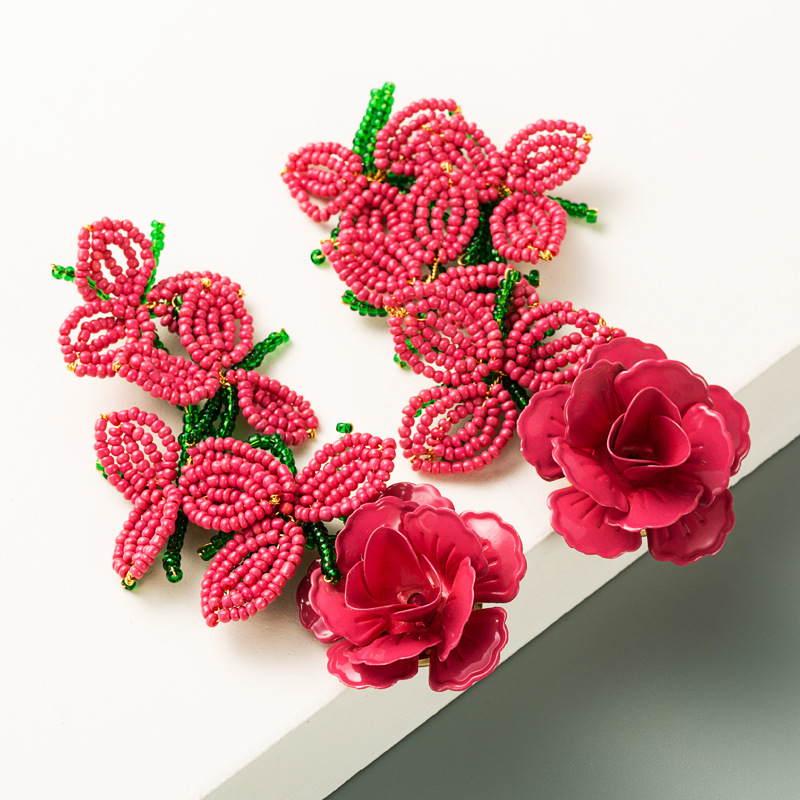exaggerated  hand-woven rice beads painted fashion flower tassel earrings wholesale NHLN256968