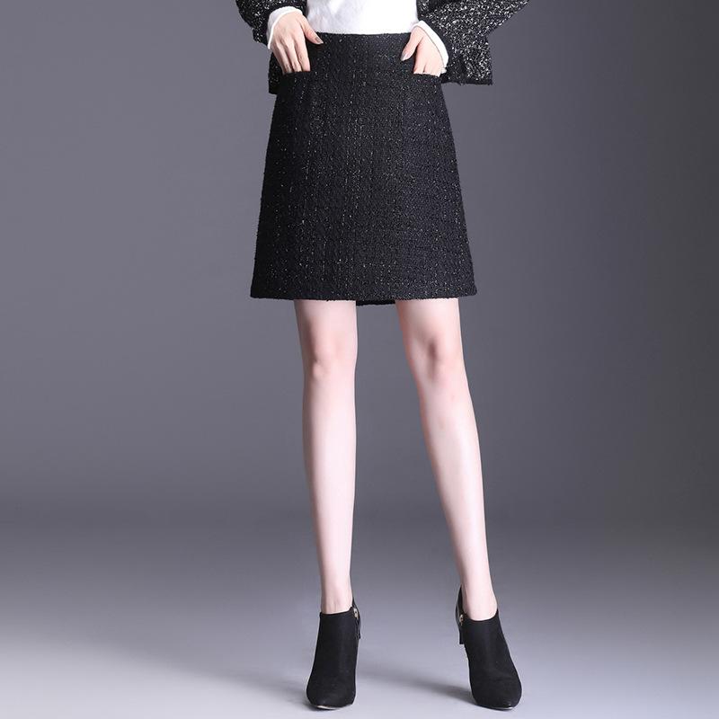 现货半身裙2020新款秋冬高腰包臀A字裙一片式毛呢裙子女装超短裙