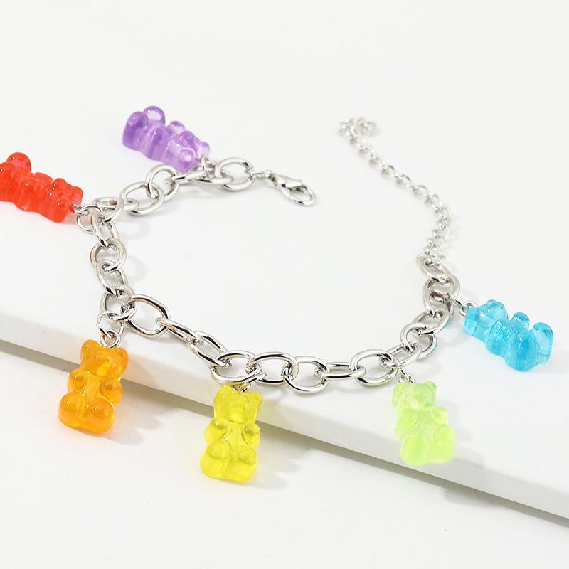 New Fashion Candy Color Bear Pendant Bracelet Silver Thick Chain Bracelet for women wholesale NHNZ205180
