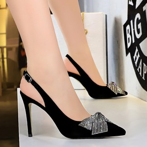 825-11 after Europe and the United States sexy high-heeled shoes suede party shallow mouth pointed strappy hollow out di