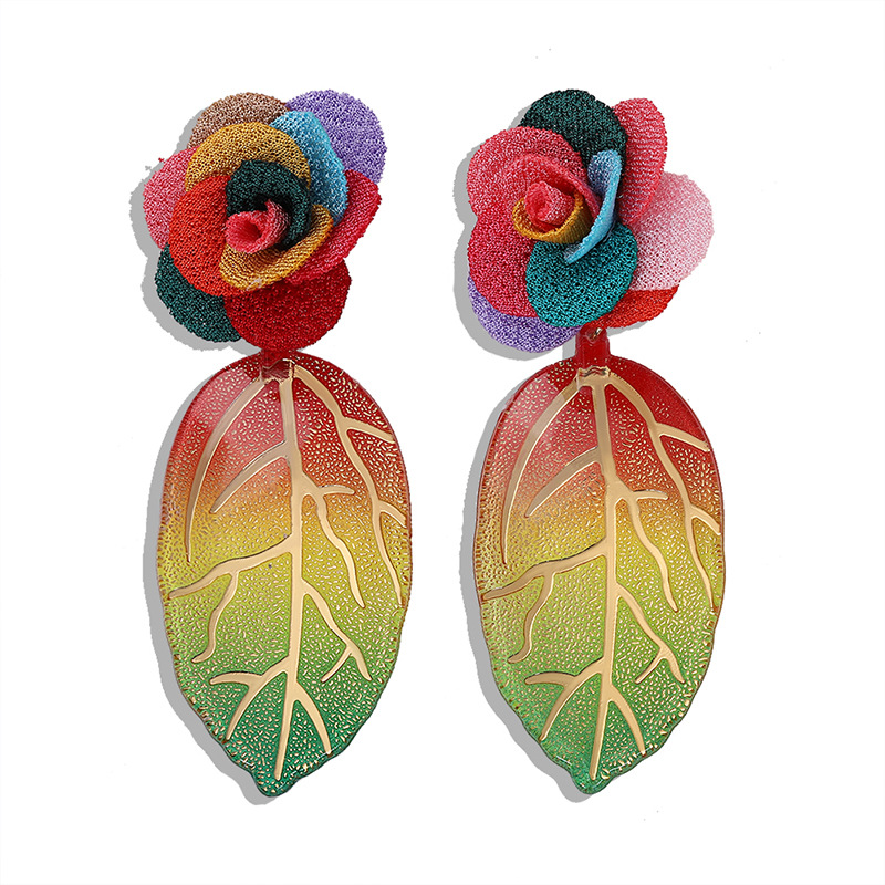 Fashion exaggerated hollow leaves long earrings simple earrings wholesale nihaojewelry NHJQ225328