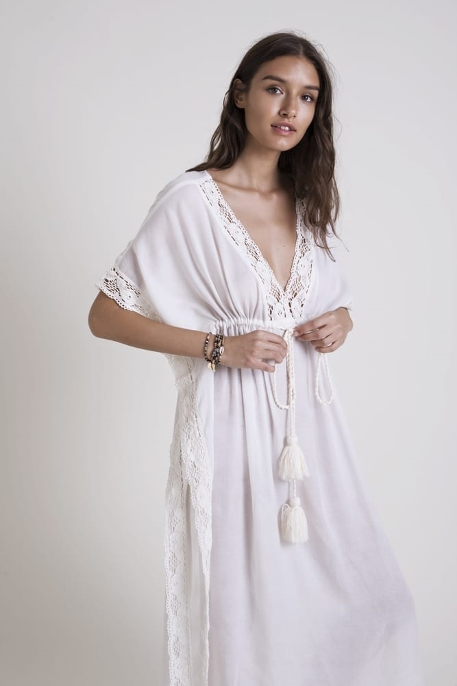 new style cotton lace blouse loose beach dress seaside vacation long blouse wholesale nihaojewelry NHXW243953