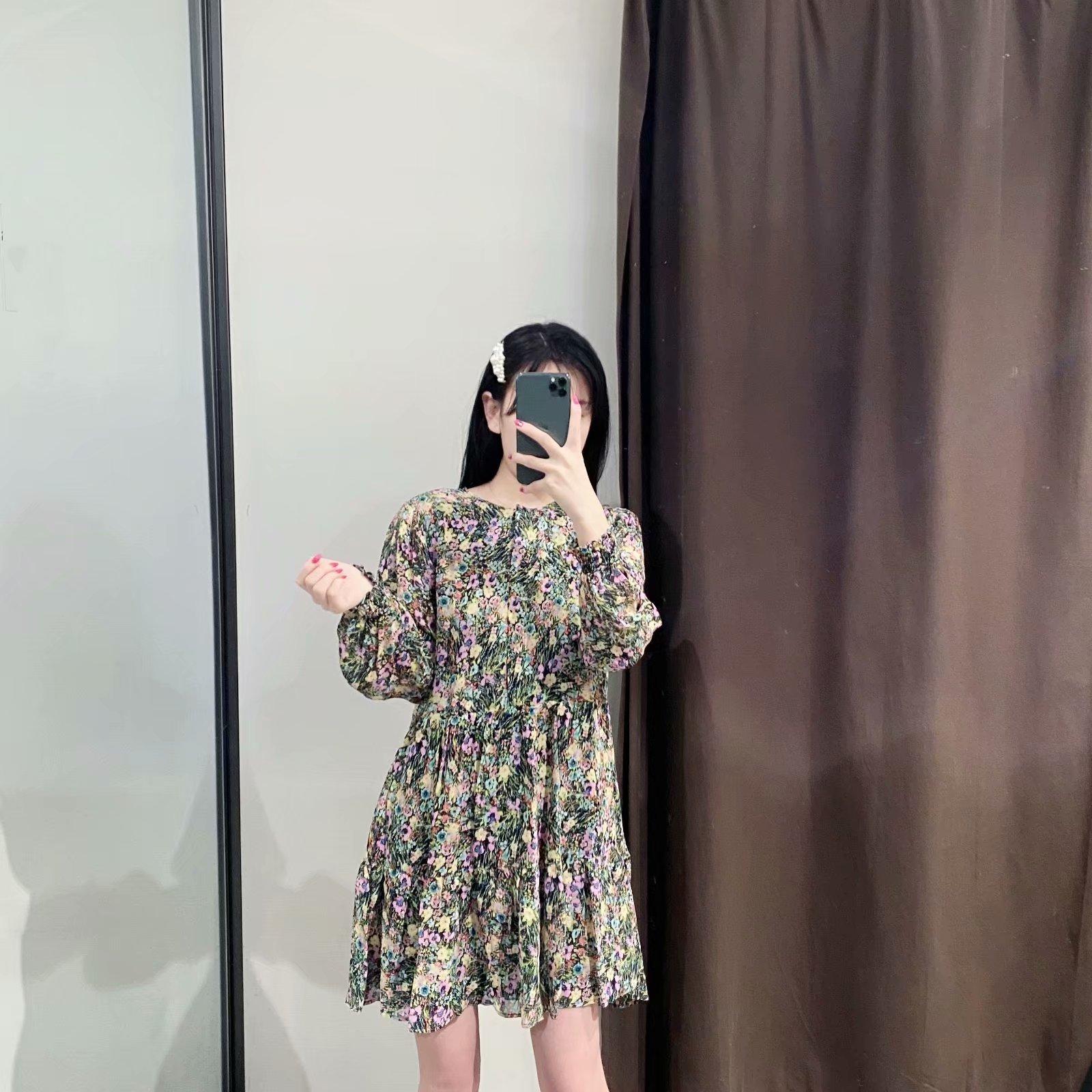 Primavera nueva moda estampado de flores vestido de manga larga al por mayor NHAM207646
