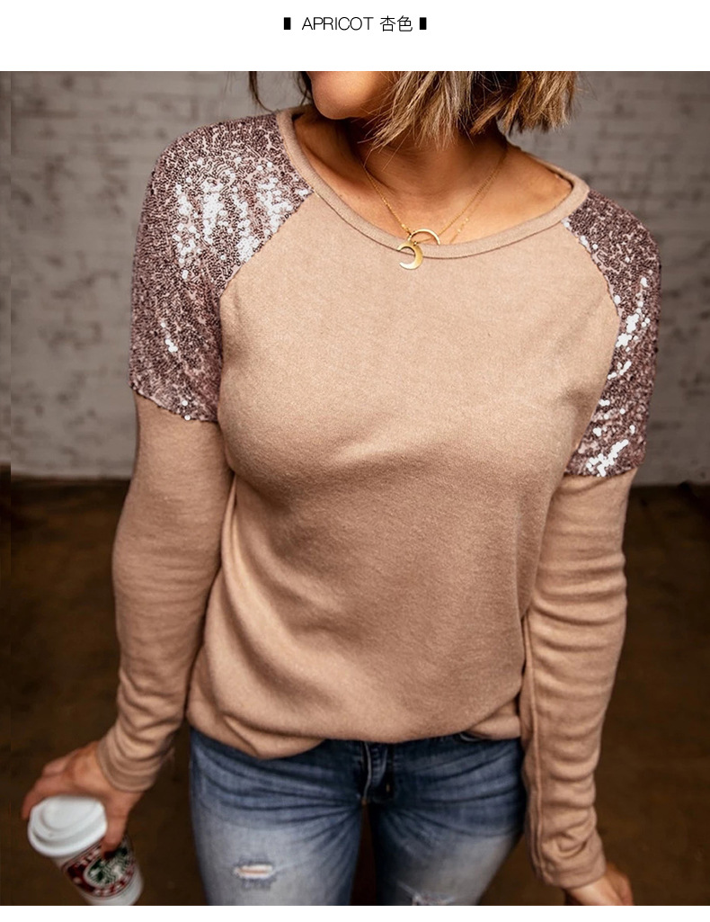 women's autumn new style solid color sequin stitching casual round neck pullover sweater  NSSI2373