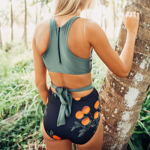 one-piece swimsuit leaf print color matching high waist ladies swimsuit  NSHL444