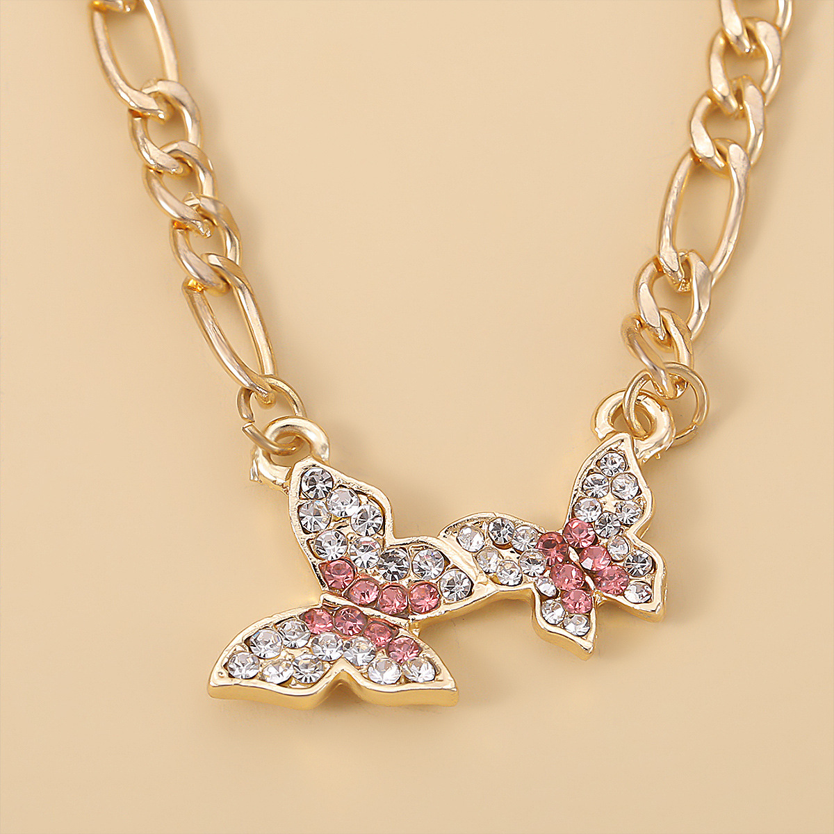 fashion punk style micro diamond womens simple butterfly necklace for women NHXR248182