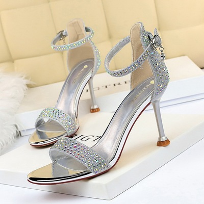 1688-3 European and American wind sexy party summer high heels for women's shoes heel high-heeled peep-toe diamond one w