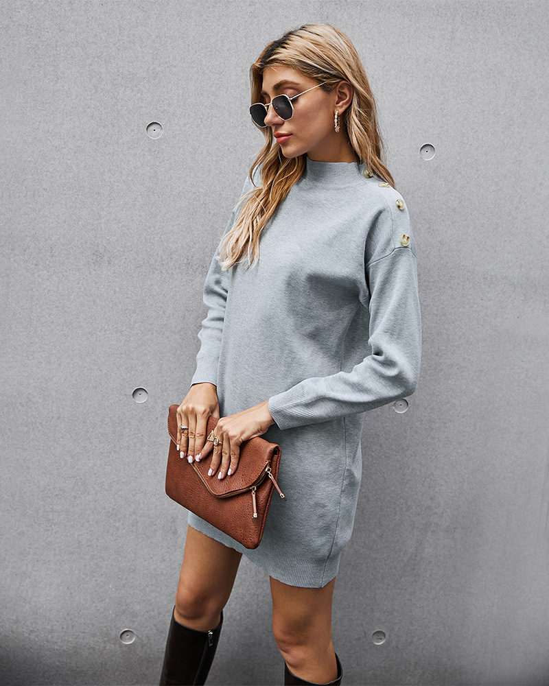 knitted pullover solid color long-sleeved dress NSKA2858