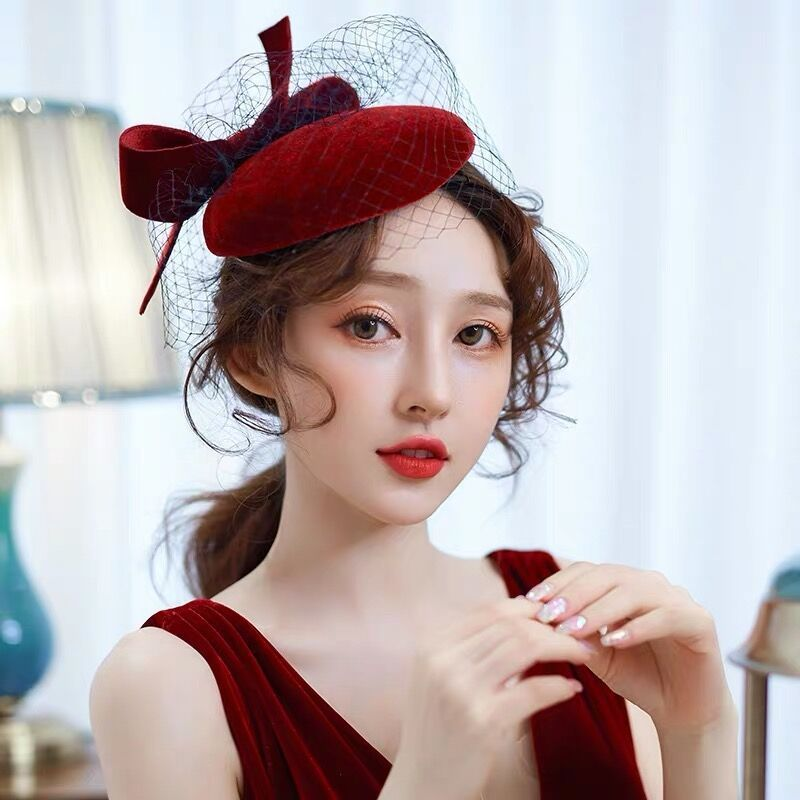 Wine Hongniang bow banquet grand lady dress Mesh Hat