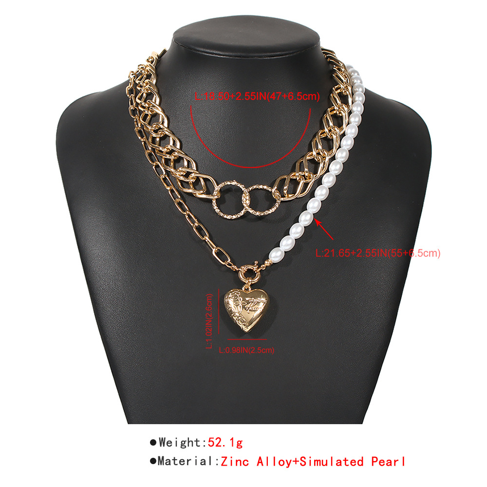 fashion punk style alloy pearl fashion heart-shaped pendant texture multilayer chain women's necklace NHMD251097