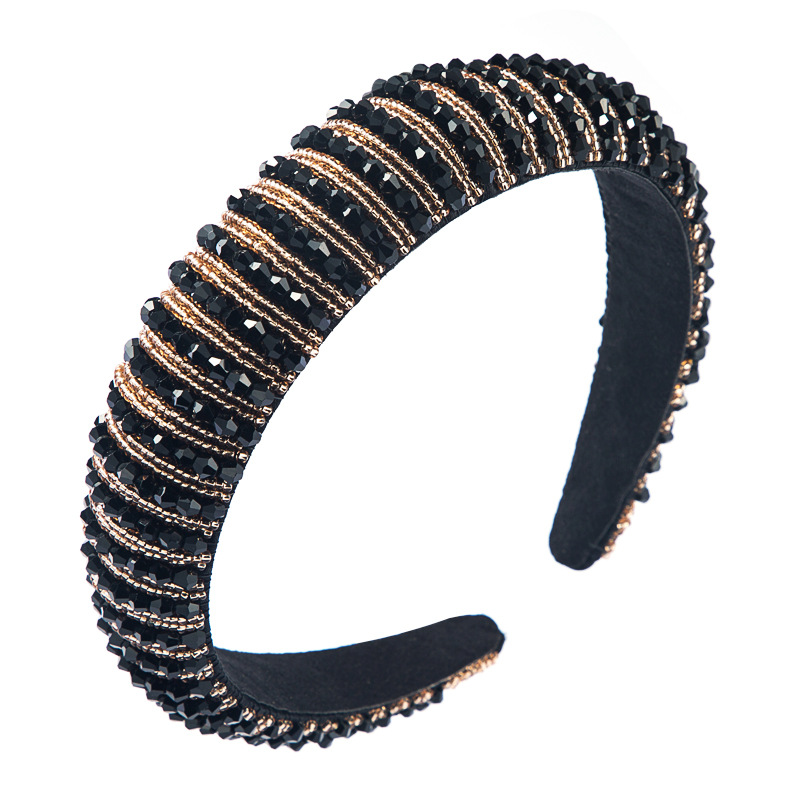 korean simple high-end sponge hairband simple wide-brimmed fashion hand-beaded  temperament headband nihaojewelry wholesale NHLN216120