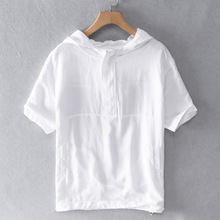 男裝新款亞麻連帽短袖襯衫時尚運動寬松薄款棉麻日系潮男上衣9246