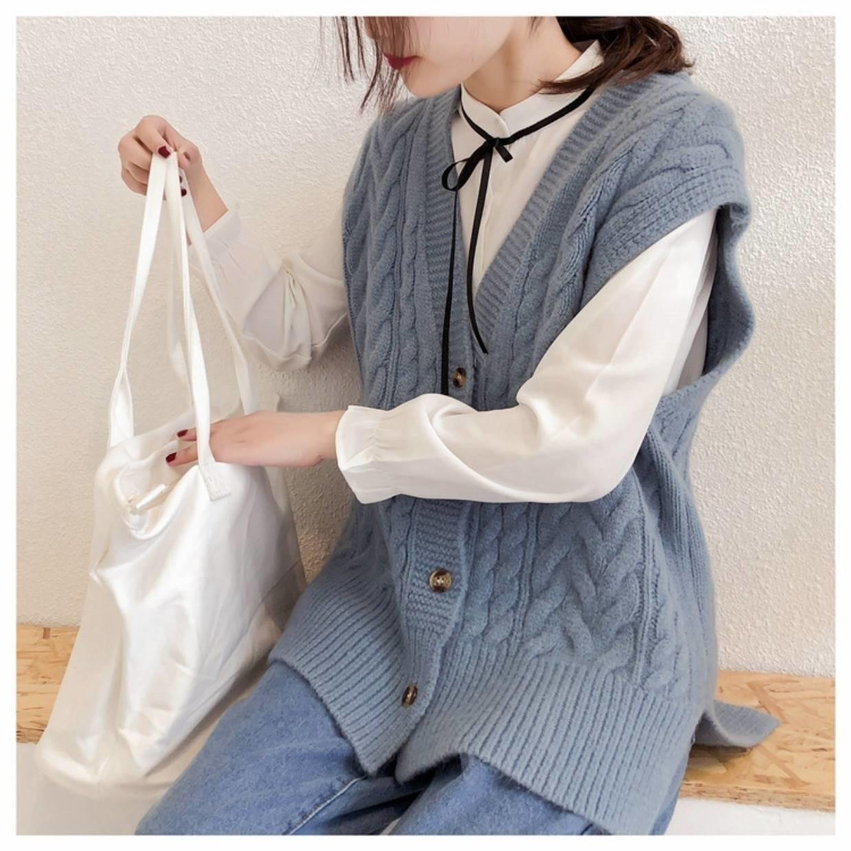 2020秋装新款宽松学生韩版无袖毛衣开衫针织马甲女背心中长款坎肩
