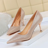 17189-A2 European and American wind banquet high heels for women's shoes with metal spike shallow mouth pointed sequins cloth women's shoes