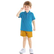 夏季純棉韓版男童裝寬松套裝翻領純色短袖Polo衫兒童套裝品牌童裝