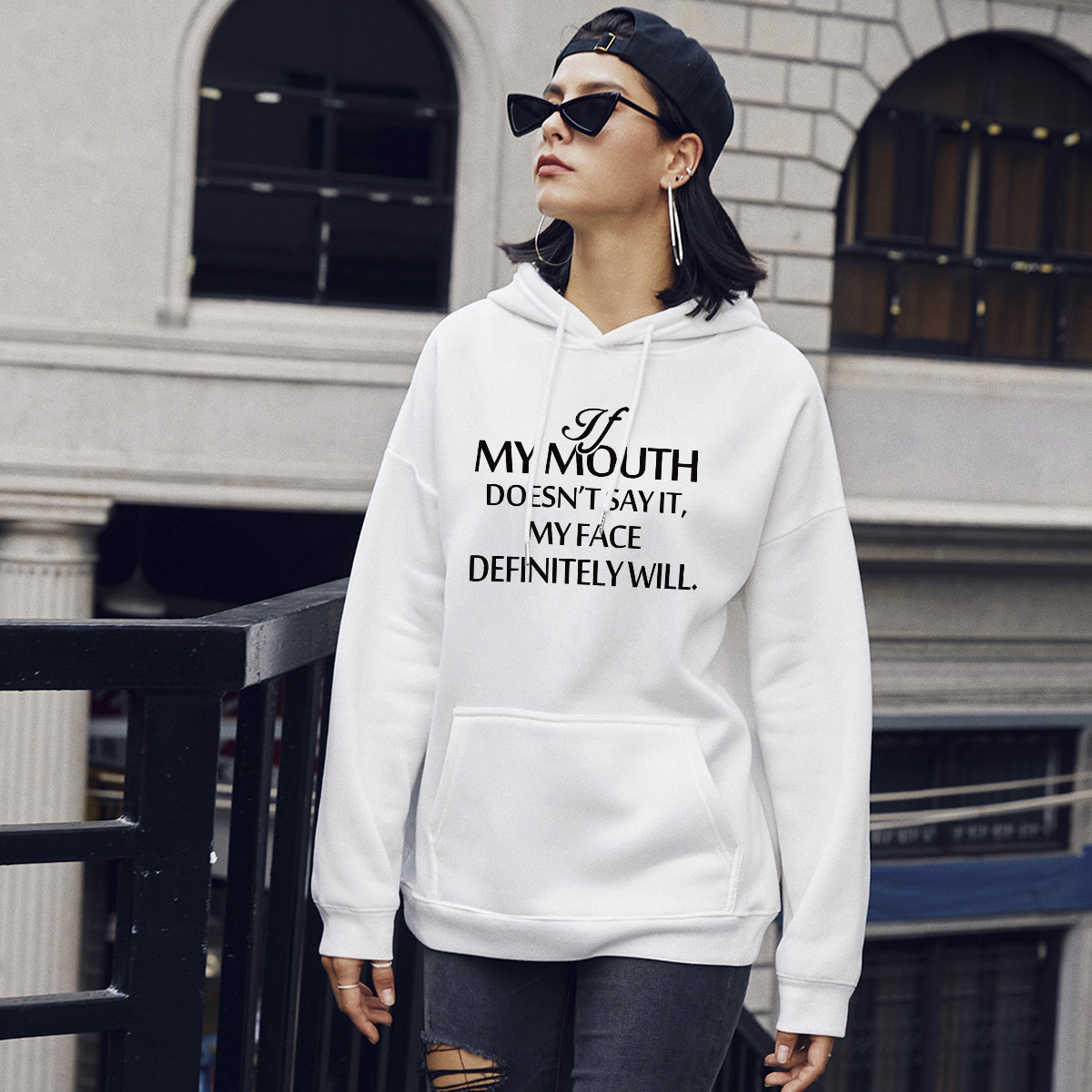 autumn and winter women's street casual hooded sweater letter printing NSSN1882