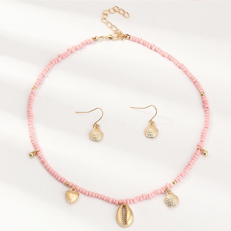 style bohme pour enfants rose perle de riz papillon pendentif coquille de papillon ensemble de collier NHNU264650