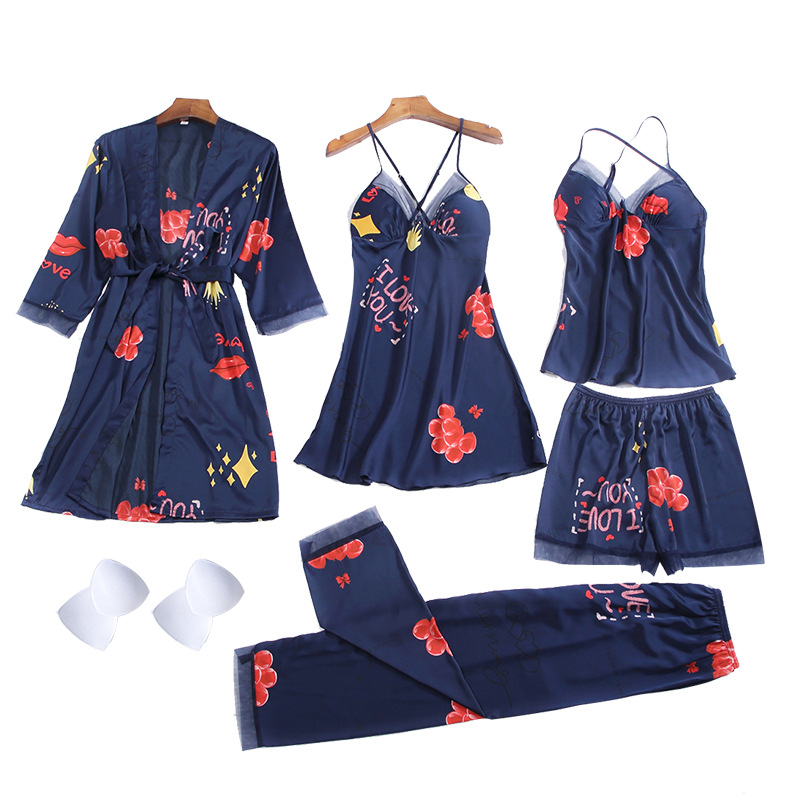 Women's pajamas printing sexy suspenders short suspenders pajamas five-piece multi-suit home service NHMR204761