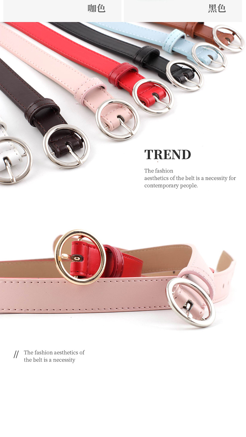 Korean fashion classic round buckle ladies soft PU gold and silver buckle belt wild decoration jeans gown small belt nihaojewelry wholesale NHPO216327