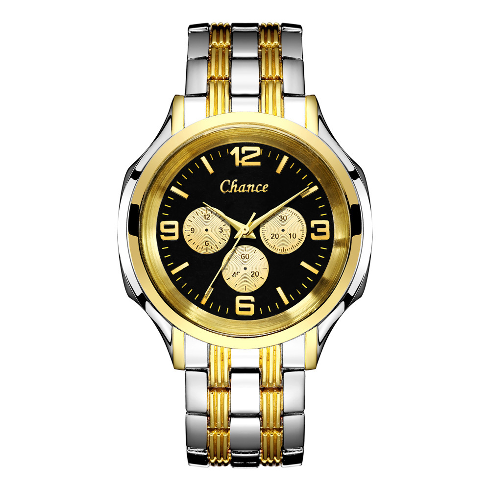 Large Dial Gold Steel Band Watch Men's Three Eye Quartz Men's Steel Band Watch Europe and America Explosion Men's Watch NHSS218489