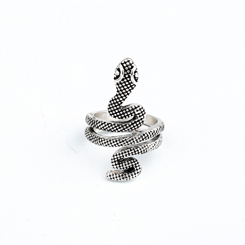 New fashion ancient silver snake ring retro cobra ring open ring wholesale NHGO204381