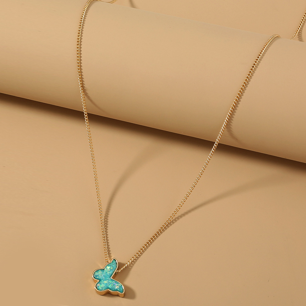 simple  green resin butterfly necklace  NHAN283165