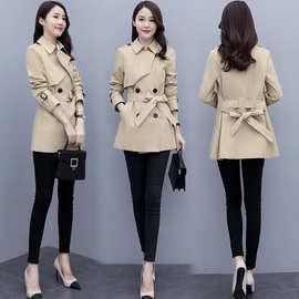 女士风衣女短款2020年新款中长款小个子春秋女式中款流行外套大衣