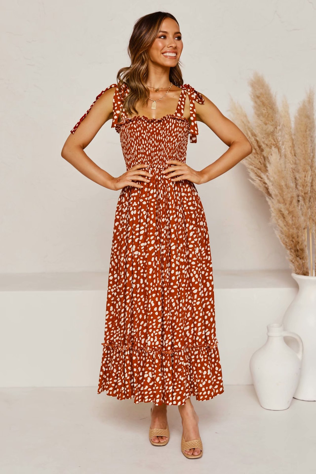 one-line neck floral drop rayon dress  NSAM4236