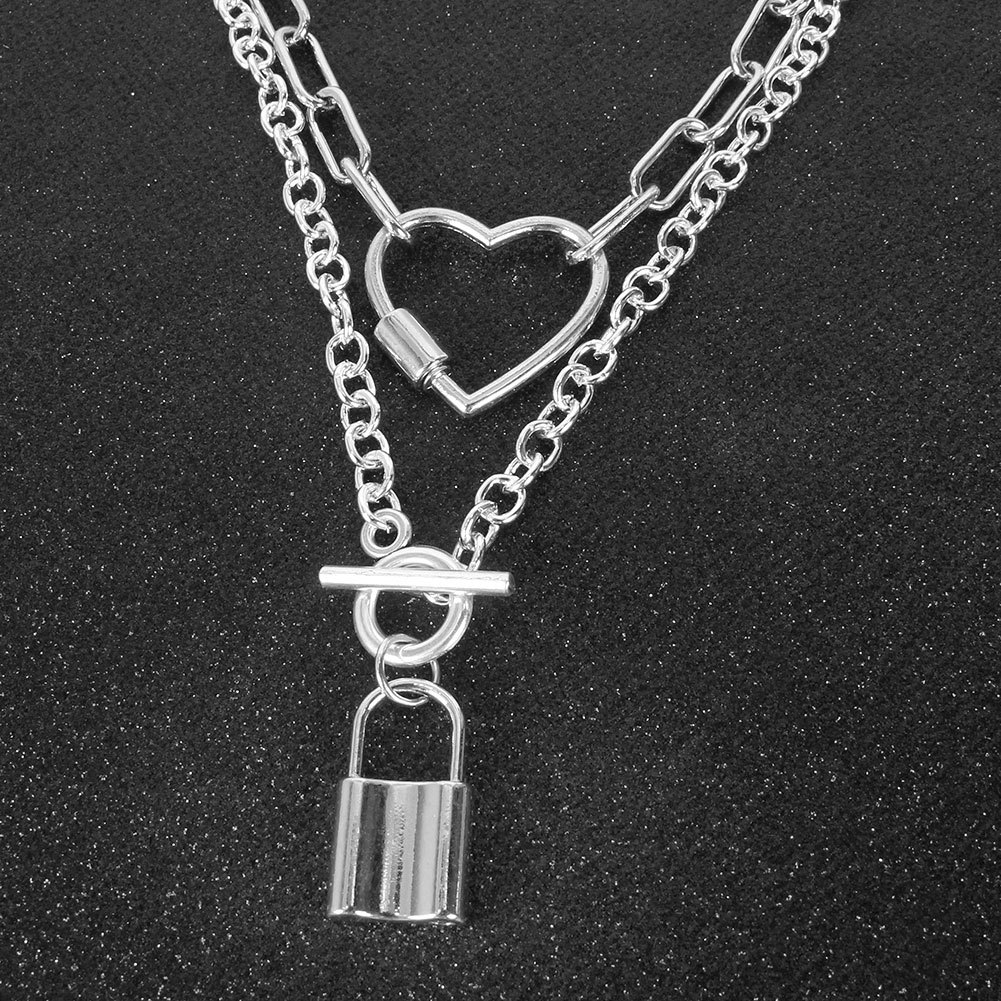Fashion retro silver chain love lock alloy pendant necklace for women NHCT245659