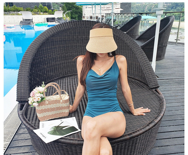 conservative solid color one-piece swimsuit  NSHL3967