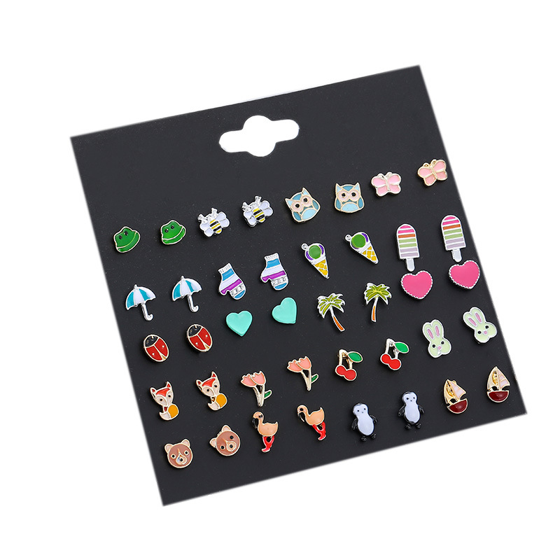 Korean animal insect ladybird fruit fashion alloy earrings wholesale NHSD243605