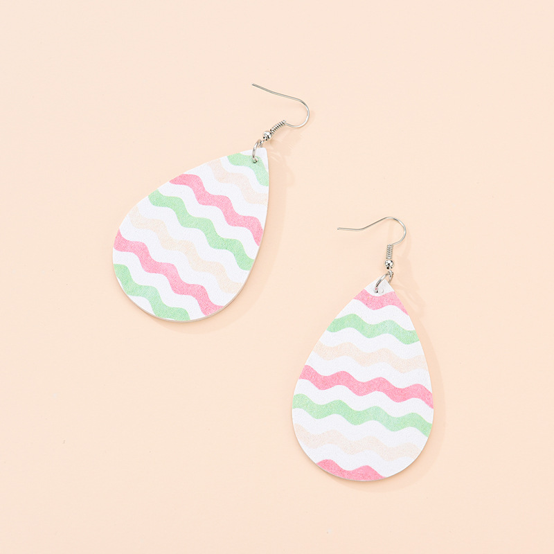 Fashion Drop Shape Drop-shaped Leather Print Geometric Earrings