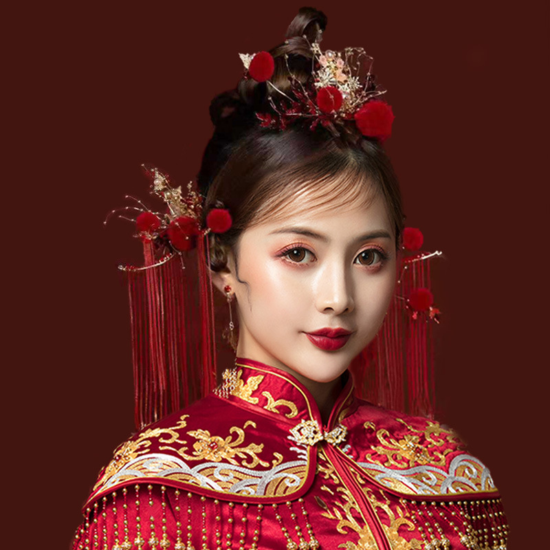 Chinese bride headdress wedding Chinese simple dragon and phoenix gown show he hair ornaments toast clothing women
