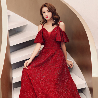 Evening dress girl wine red wedding party bridesmaid dress prom gown