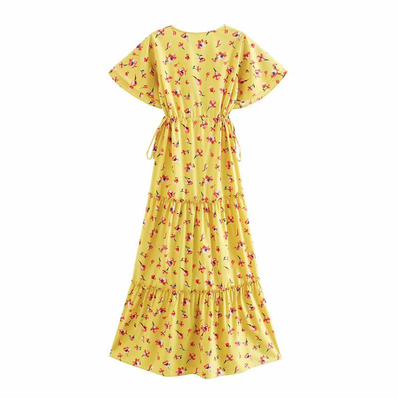 Summer new yellow women's V-neck print knot ornament waist mid-length dress nihaojewelry wholesale NHAM214153