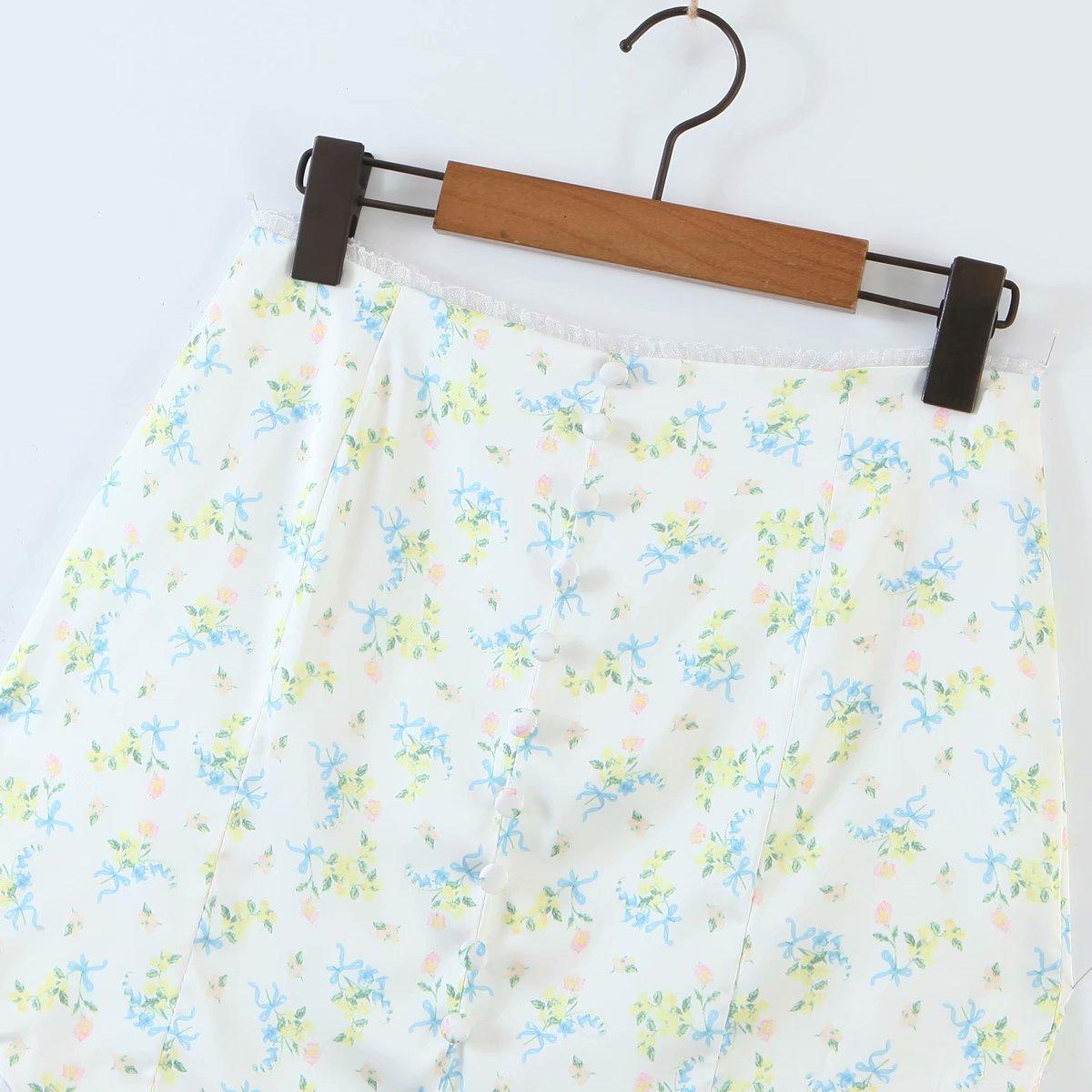 small flowers lace skirt  NHAM284336