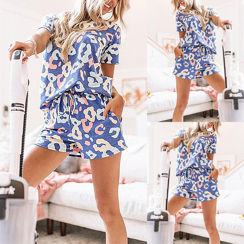 hot style women's printed round neck short-sleeved tether loose casual suit NSKX5803