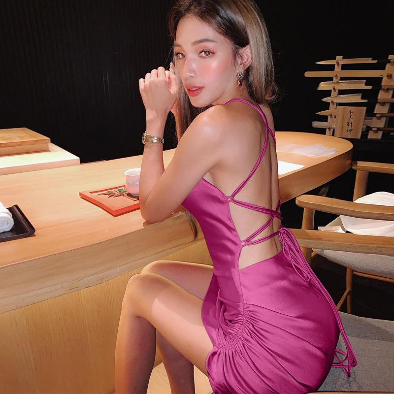 欧美风性感吊带连衣裙2021春季新款后背镂空系带气质裙子女装批发