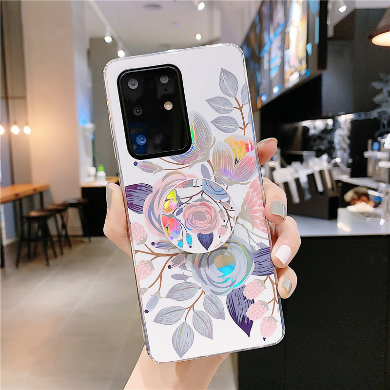 Laser flower banana leaf mobile phone case ring holder for Samsung S20 S9plus all-inclusive s10e A70 soft phone cases NHFI237428