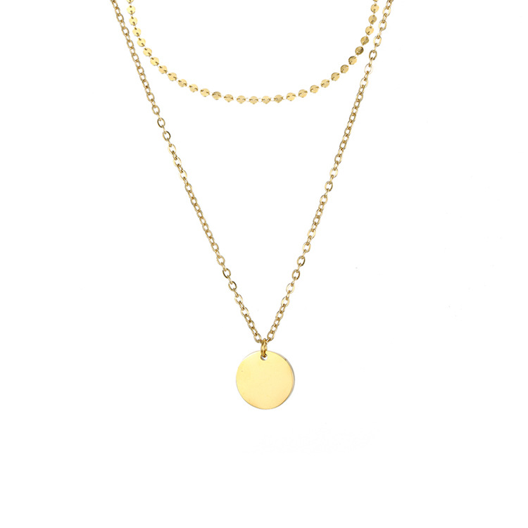 Fashion simple trend double-layer explosion jewelry titanium steel gold-plated clavicle chain necklace for women NHTF242013