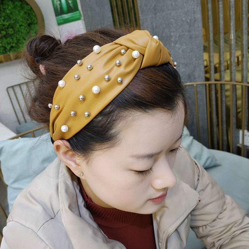 Korean headband fashion new high-end pu leather nail pearl hair hoop simple wide-edge hair headband wholesale nihaojewelry NHUX221666