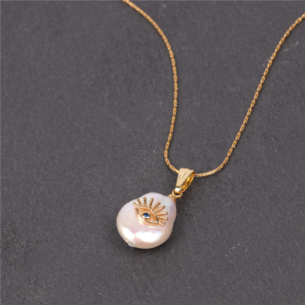 Fashion Baroque Shaped Button Pearl Necklace Devil's Eye Pendant Stainless Steel Necklace NHPY198214