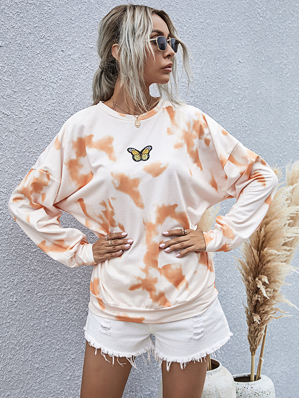 Fashion new winter casual womens digital printing fresh pullover longsleeved tiedye sweater  NHDF264308